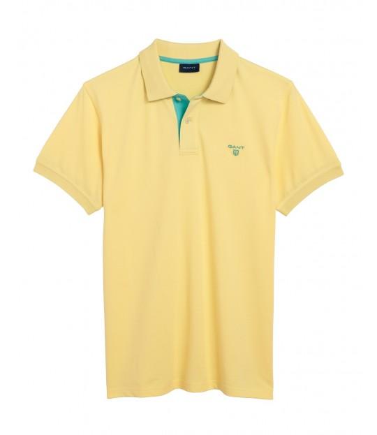 Contrast Collar ss Rugger Lemon
