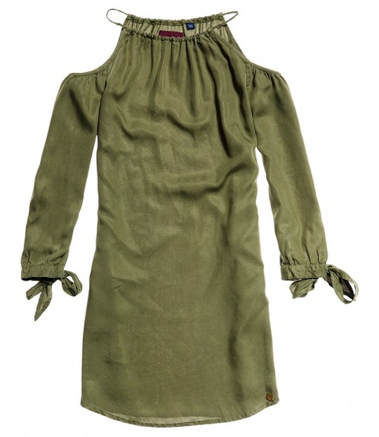 Eden Col Shoulder Dress Green