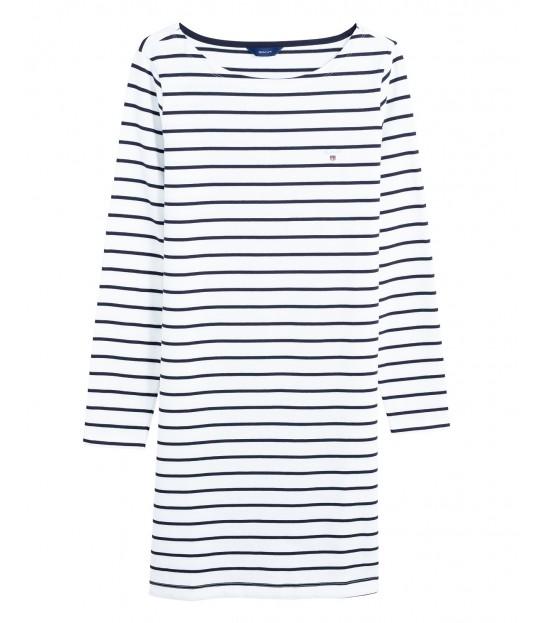 Breton Stripe Boatneck Dress Eggshell