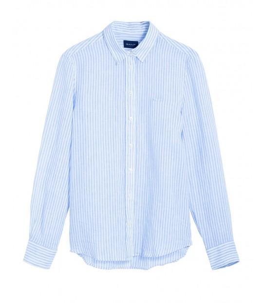 The Linen Chambray Stripe Shirt Blue
